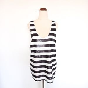 Witchery Size M Black & White Striped Sequin Top